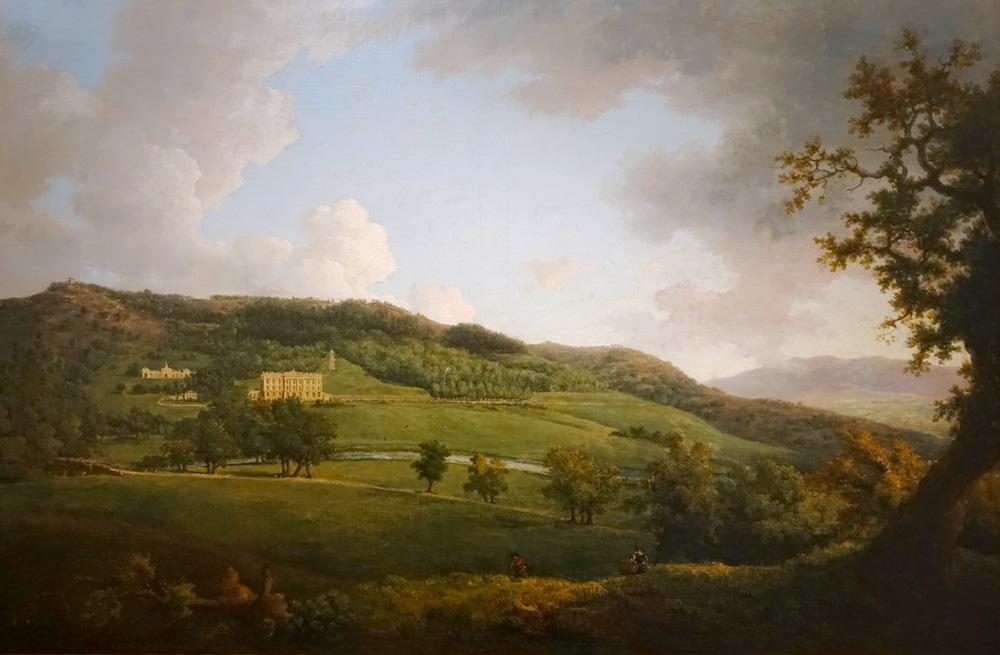 Tableau de Chatsworth House à l'époque de Jane Austen (peint en 1770 par William Marlow)