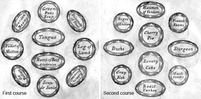 Exemples de plats servis lors d'un dîner mondain ou d'un bal, à l'époque de Jane Austen (Régence, époque georgienne)