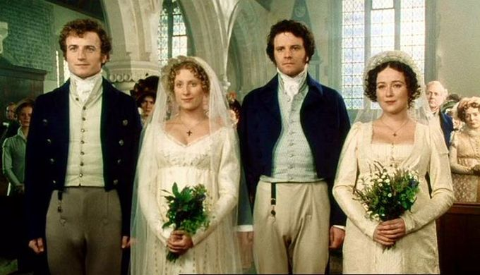 Double mariage des soeurs Bennet avec Bingley et Darcy. Les robes de mariées blanches ne sont pas du tout d'époque. On ne se mariait pas en blanc du temps de Jane Austen.