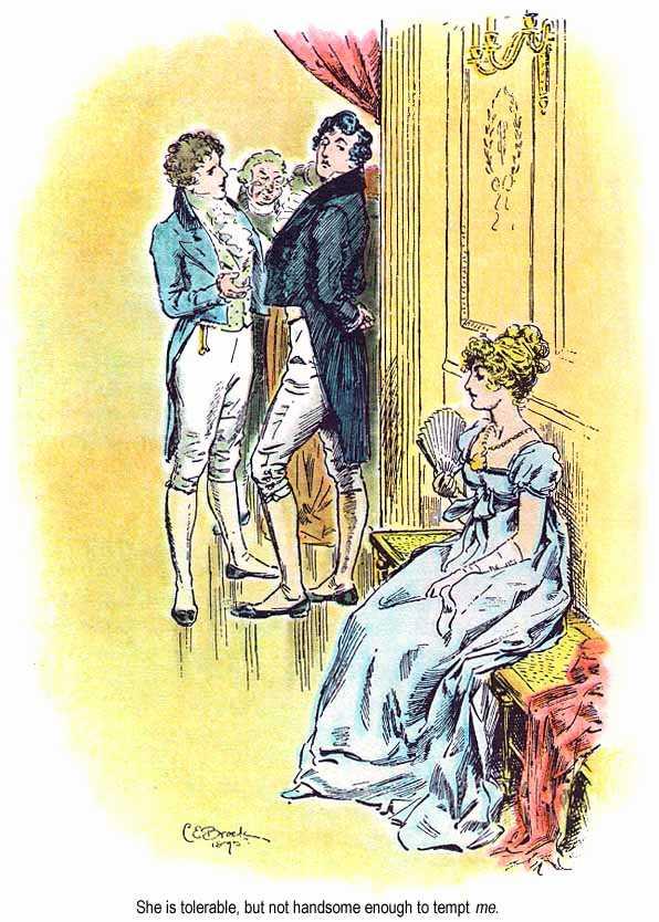 Gravure montrant une scène du bal de Meryton, où Mr. Darcy affirme qu'Elizabeth Bennet n'est pas assez jolie pour lui plaire. Illustration de C. E. Brock pour Orgueil et préjugés, édition de 1895.
