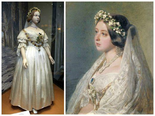 Robe de mariage de la reine Victoria, en 1850. Du satin blanc, de la dentelle, un voile et une couronne de fleurs