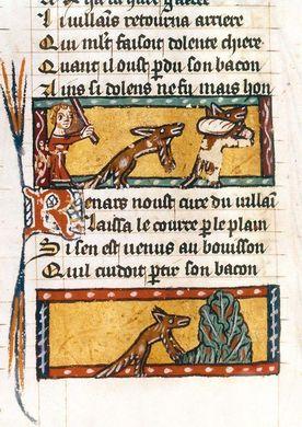 Enluminure du roman de Renart, récit médiéval