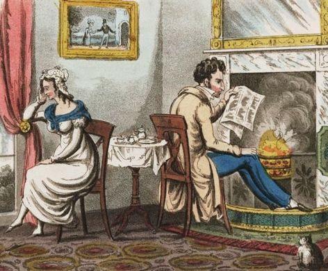 Gravure satirique de l'époque de la Régence : les tourments du mariage