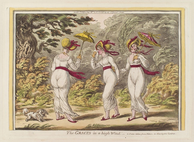 The Graces in a high Wind, par James Gillrat (1810)