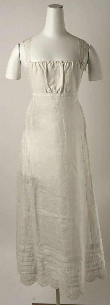 Jupon du début du XIXe siècle, avec bretelles