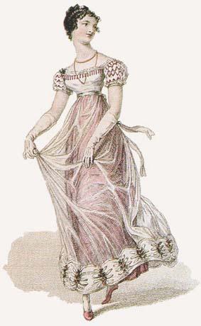 Gravure d'une robe de bal époque Régence