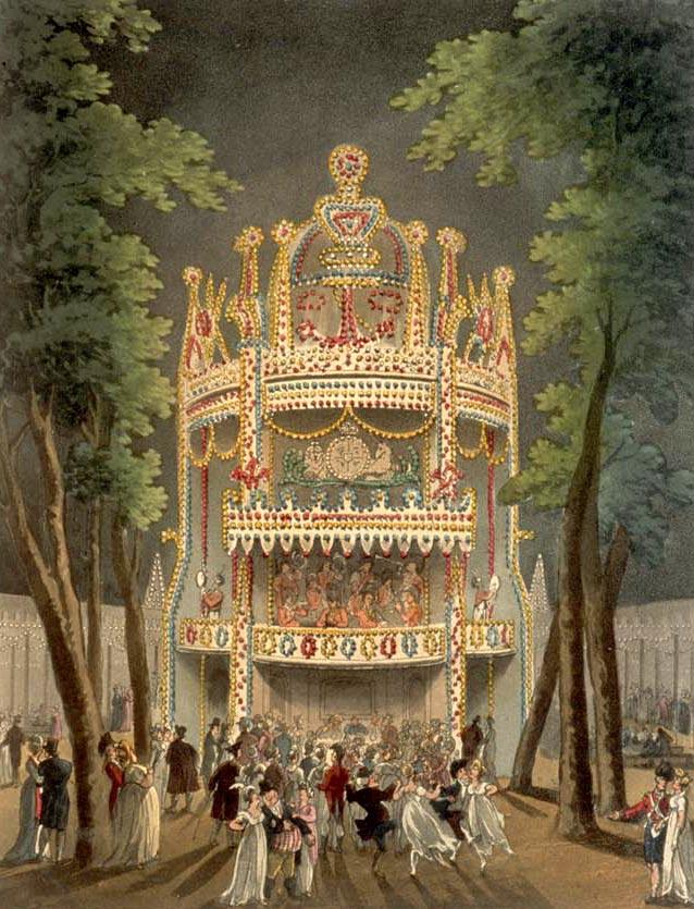 Vauxhall Gardens, à Londres, était un parc d'attraction populaire au XIXe siècle
