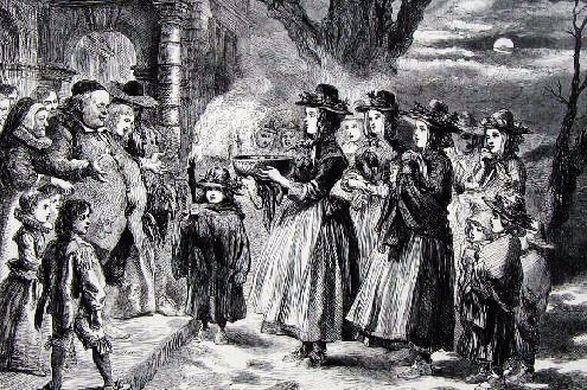 Gravure montrant des paysans apportant un bol de wassail à leur maître, pendant la nuit des Rois