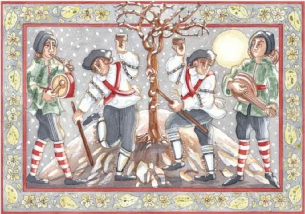 Peinture ancienne montrant la tradition anglaise du wassail, où les gens allaient boire et faire la fête autour d'un arbre du verger