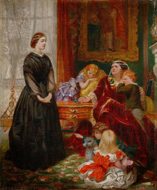 La gouvernante, par Emily Mary Osborn, est un tableau qui montre bien l'écart social entre la gouvernante et la mère des enfants