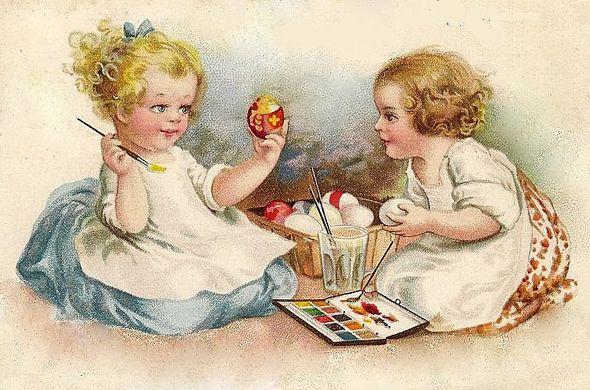 Enfants en train de peindre des oeufs de Pâques à l'époque victorienne