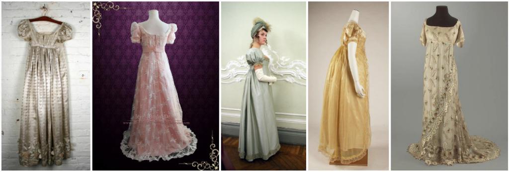 Exemples de robes de bals en couleur, de l'époque Régence