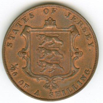 Pièce de 1/26 shilling, émise sur l'île de Jersey à l'époque victorienne