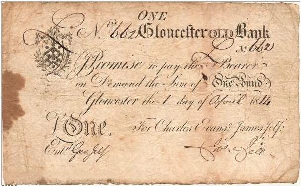 Billet de banque de 1 livre sterling (pound), émis au XIXème siècle, à l'époque de Jane Austen