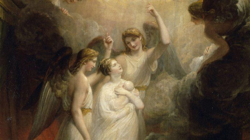 """""""The Apotheosis of Princess Charlotte"""", par John Hammond, illustre la montée au ciel de la jeune princesse Charlotte et de son bébé. Fille du roi George IV elle serait devenue reine mais elle est morte en couches."""