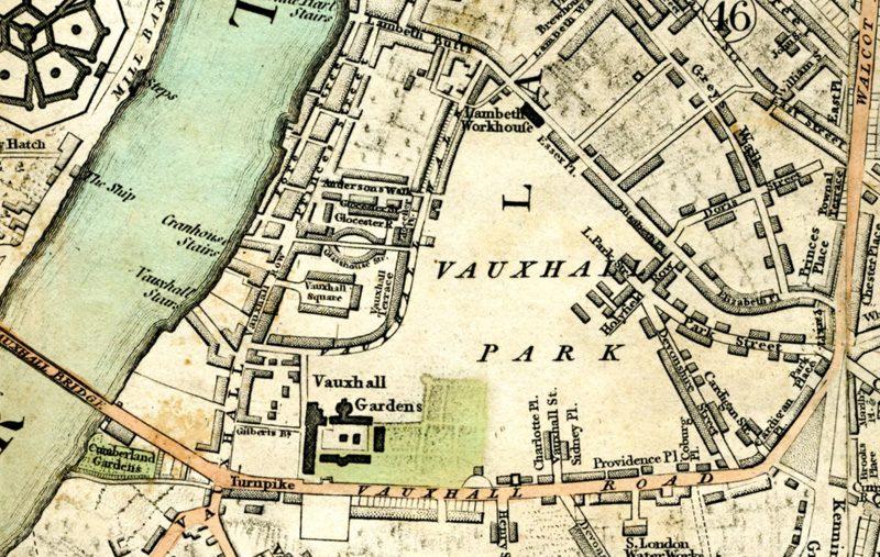 Carte montrant le parc d'attractions de Vauxhall, populaire à Londres au XIXème siècle
