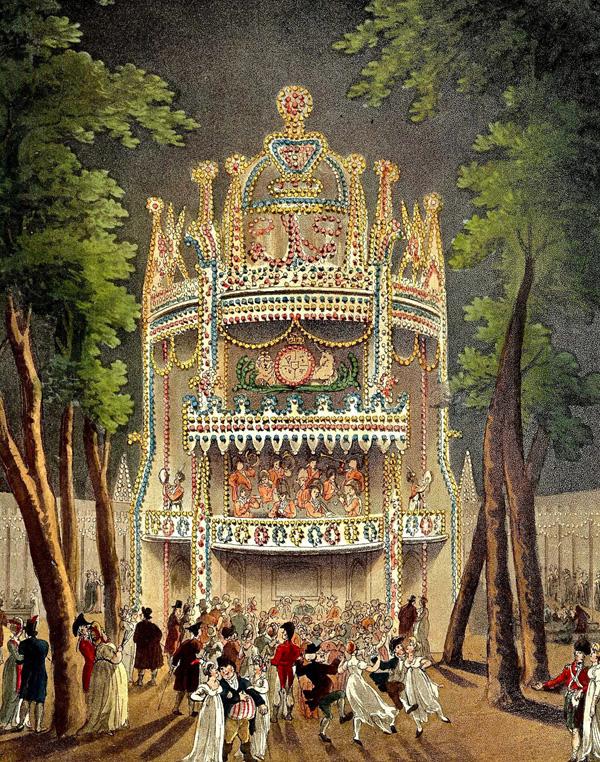 Illustration du début du XIXème siècle montrant les fêtes organisées dans le parc d'attractions de Vauxhall, à Londres