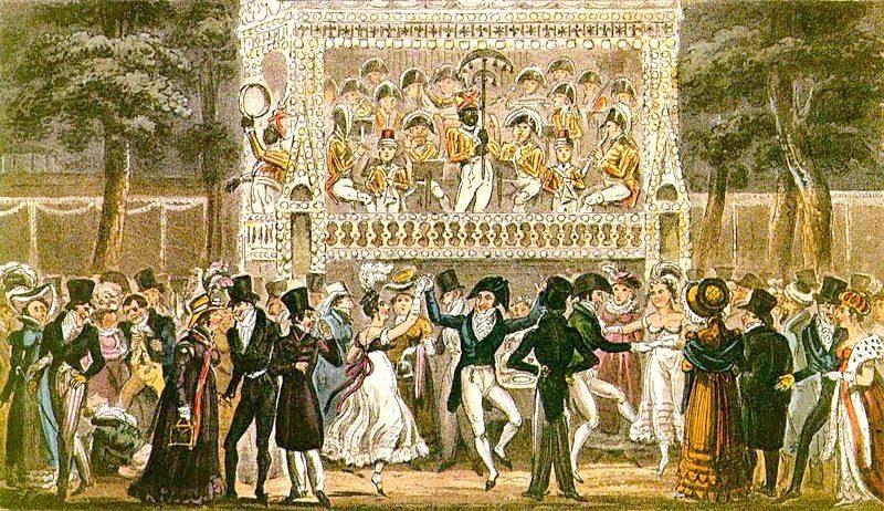 Illustration montrant les fêtes qui avaient lieu au parc d'attractions de Vauxhall, à Londres, au début du XIXème
