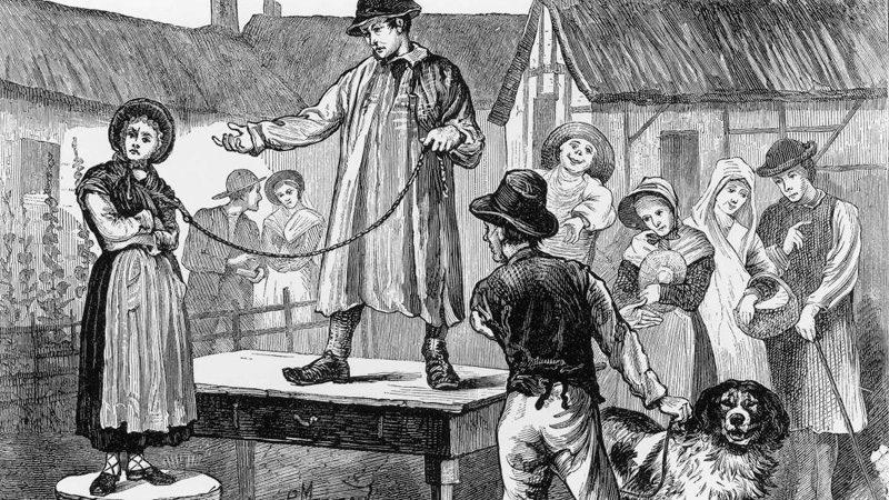 Vendre sa femme sur le marché, une méthode illégale qui a eu court en Angleterre à l'époque où il était trop difficile de divorcer