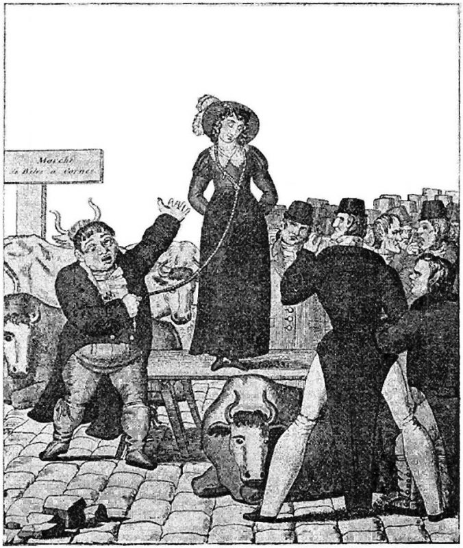 Caricature française du XIXème siècle (1820) montrant un Anglais en train de vendre sa femme sur le marché