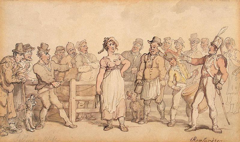 """""""Selling a wife"""", par Thomas Rowlandson (1814). Cette illustration montre un homme en train de vendre sa femme sur le marché"""
