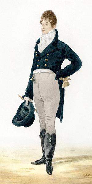Portrait du dandy Beau Brummell (aquarelle de 1805)
