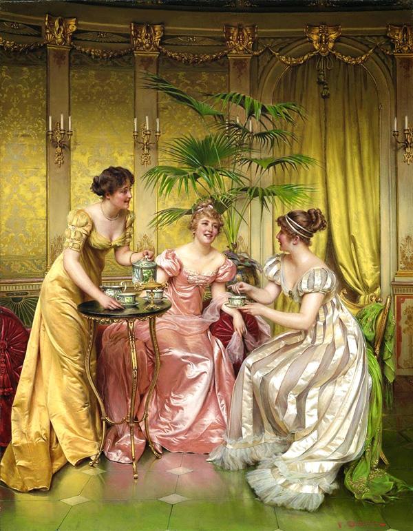 """""""Afternoon tea for three"""" par Frédéric Soulacroix (1858-1933). Peinture représentant l'époque Régence, mais peinte en réalité à l'époque victorienne"""
