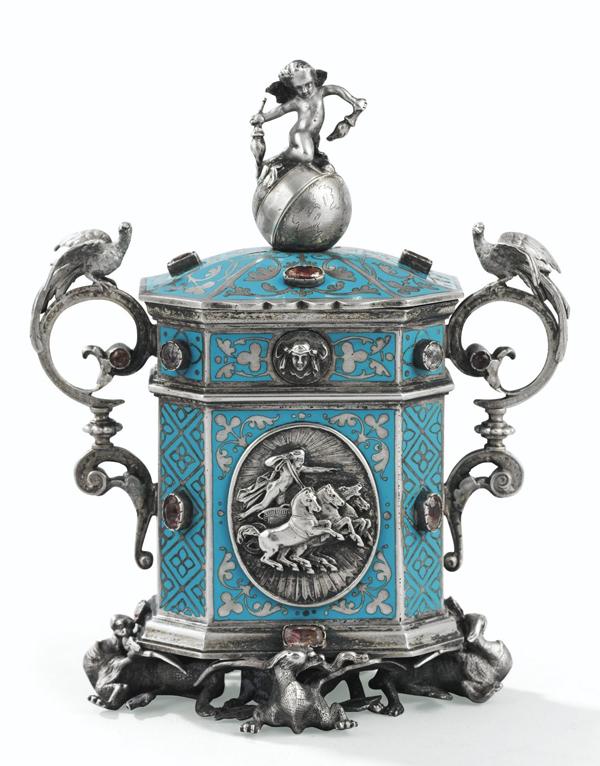 Boîte d'allumettes du XIXème siècle, en argent émaillé (Froment-Meurice, Paris, vers 1848)