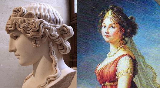 Comparaison d'une coiffure gréco-romaine et d'une coiffure néo-classique qui s'en inspire