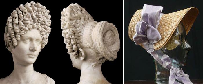Comparaison d'une coiffure gréco-romaine et d'une coiffe néo-classique qui s'en inspire