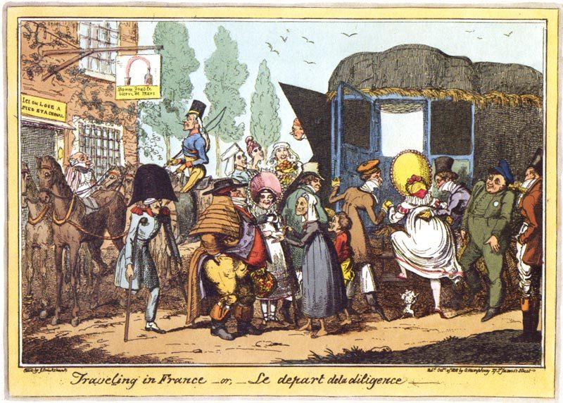Caricature anglaise du XIXème siècle (1818) qui se moque des déplacements en diligence