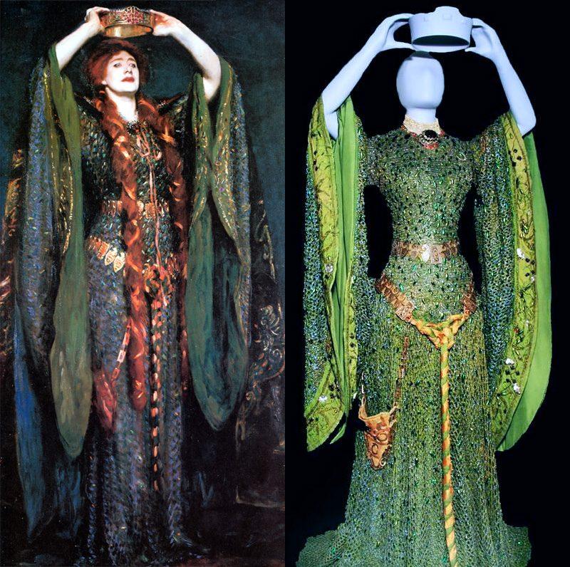 """Robe de théâtre portée par Ellen Terry dans la pièce """"Lady Macbeth"""", entièrement brodée d'élystres de scarabées sternocera. Elle a été peinte par Singer Sargent (1889)"""