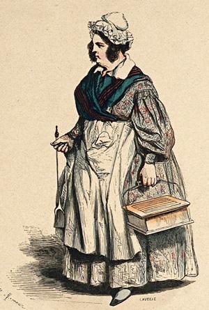 """""""La garde-malade"""" (gravure du milieu du XIXème, d'après Henry Monnier)"""