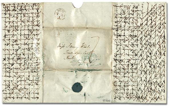 Lettre écrite au XIXème siècle (1837), selon la technique croisée pour économiser le prix du papier et de l'envoi postal