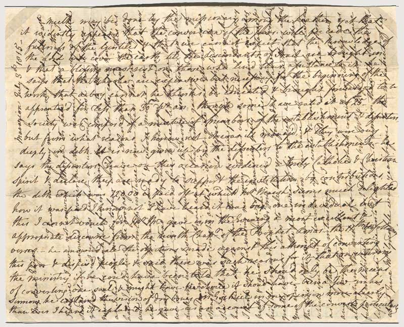 Lettre écrite au XIXème siècle (1815), selon la technique croisée pour économiser le prix du papier et de l'envoi postal
