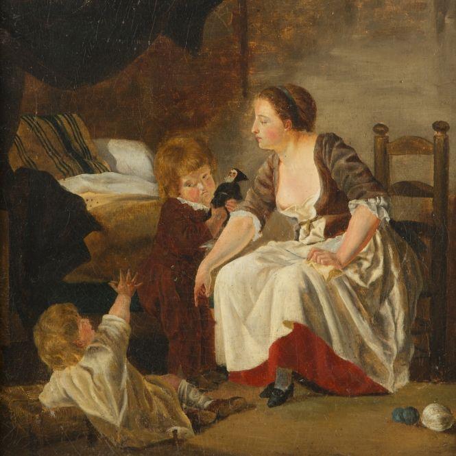 Enfants et leur nourrice dans un intérieur rustique (peintre inconnu, XIXème siècle)