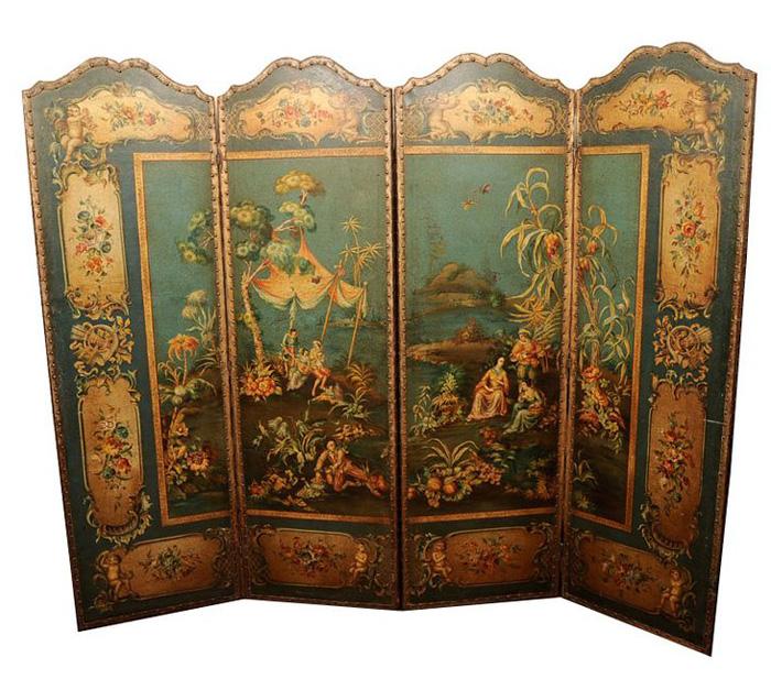 Paravent en bois et cuir peint (1825)