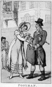Envoyer une lettre au XIXème siècle (gravure de 1810)