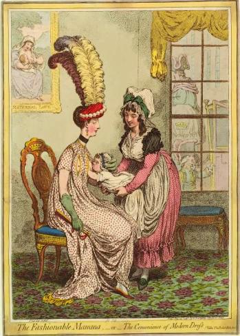"""""""La mère à la mode"""", caricature de James Gillray (1796), montrant une mère en train d'allaiter son bébé, à l'époque georgienne"""