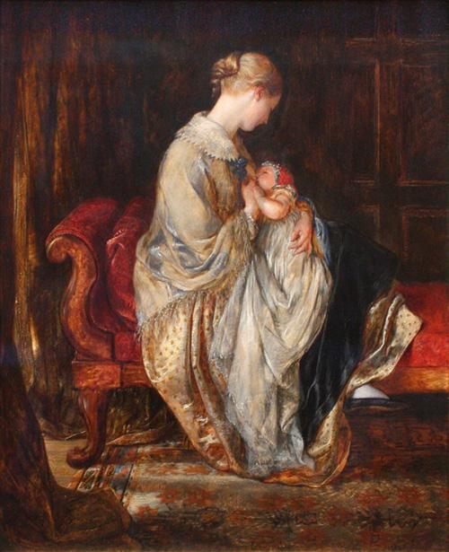 """""""La jeune mère"""", par Charles West-Cope (1845) montrant une jeune femme en train d'allaiter son bébé à l'époque victorienne"""