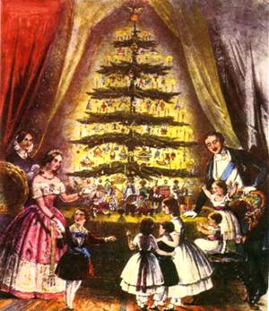 La tradition du sapin de Noël est germanique. Elle fut importée à la cour britannique notamment par le Prince Albert, époux de la reine Victoria