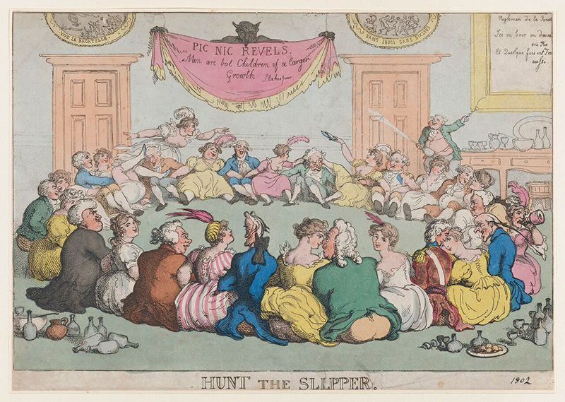 "Caricature du jeu de ""Hunt the slipper"", par Thomas Rowlandson (1802)"