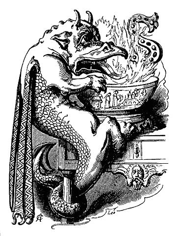"Dragon jouant au jeu de Snapdragon (illustration de 1879, issue du livre ""Book of Days"")"