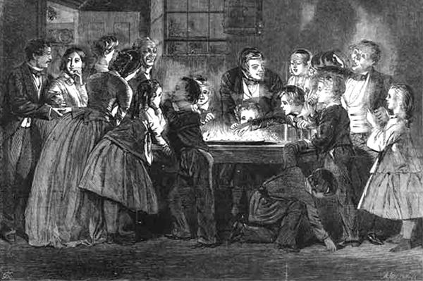 Illustration de Charles Keen (1858) montrant une famille jouant à Snapdragon