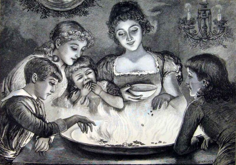 "Enfants jouant au jeu de Snapdragon. Illustration tirée du livre ""Holly leaves"" (1887)"