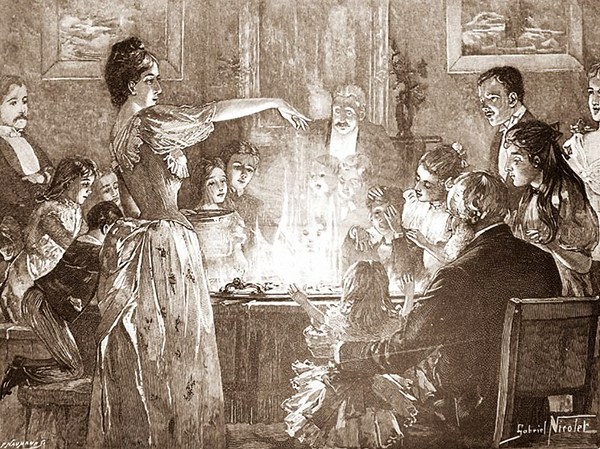 Illustration de Gabriel Nicolet (1889) montrant une famille jouant à Snapdragon