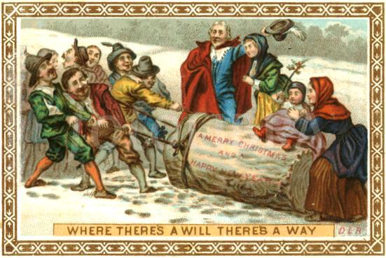 Carte de Noël (1870) montrant une famille en train de couper la bûche qui sera brûlée le soir de Noël