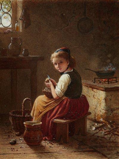 Petite fille de cuisine épluchant des patates, par J.G. Meyer Von Bremen (Allemagne, milieu du XIXème siècle)