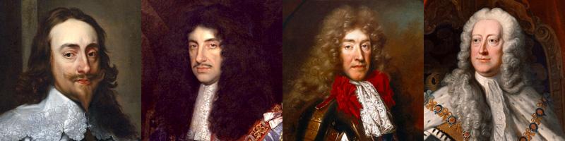 Évolution des perruques parmi les rois anglais du XVIIème siècle