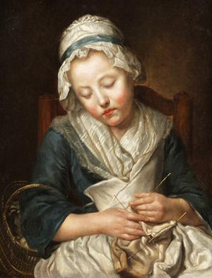 Tricoteuse endormie, par Jean-Baptiste Greuze (fin du XVIIIème siècle)